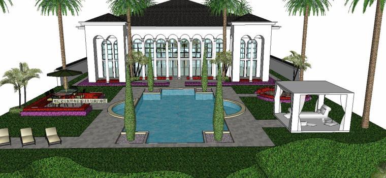 居住区庭院su模型设计