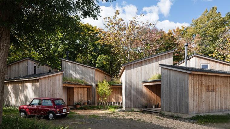 日本多层次空间木结构办公建筑