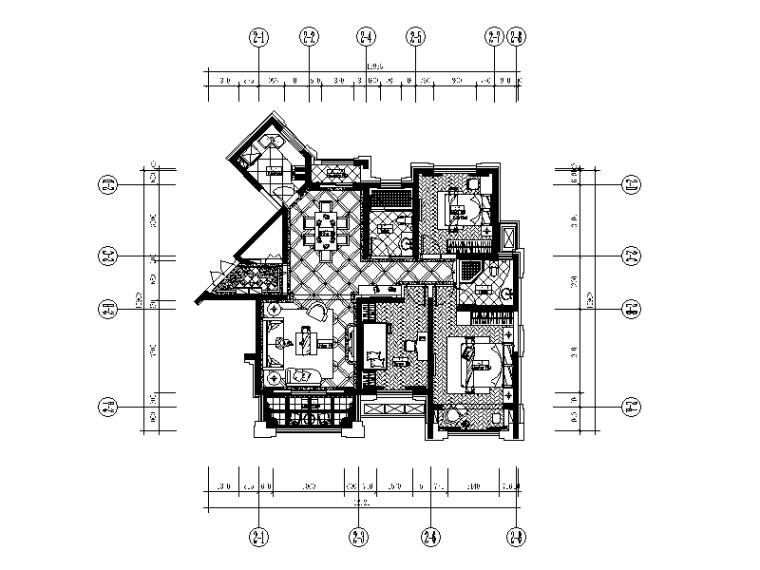 新古典样板房设计CAD施工图(含效果图)