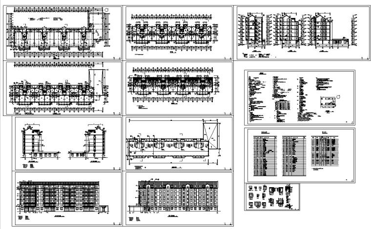 3套商住综合楼建筑设计施工图CAD-多层商住综合楼建筑施工图