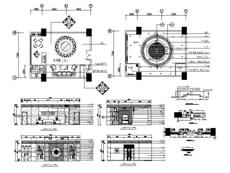 中式餐厅包厢施工图