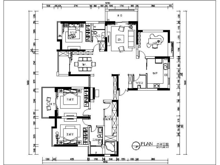 [无锡]最新现代简约三居室设计施工图(含效果图)