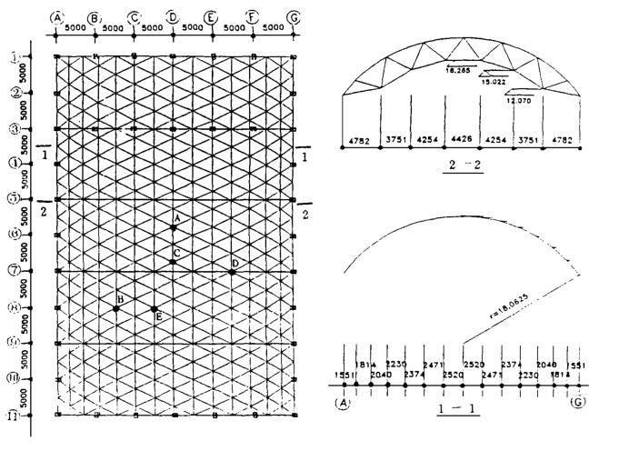 30m-50m中学体育馆单层柱面网壳屋盖结构设计