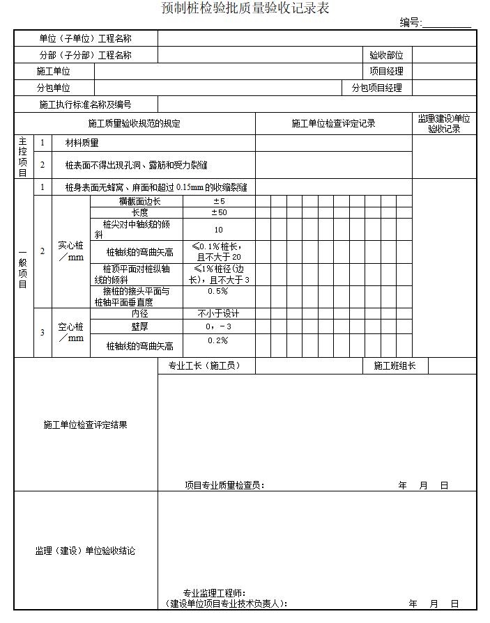 市政桥梁工程监理质量检验批全套表格(107页)-预制桩检验批质量验收记录表