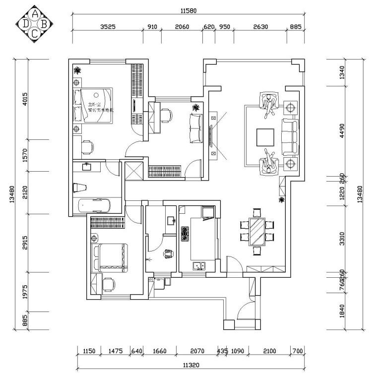 现代简约风格住宅施工图设计(附效果图)