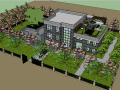 休闲度假别墅庭院景观设计模型下载