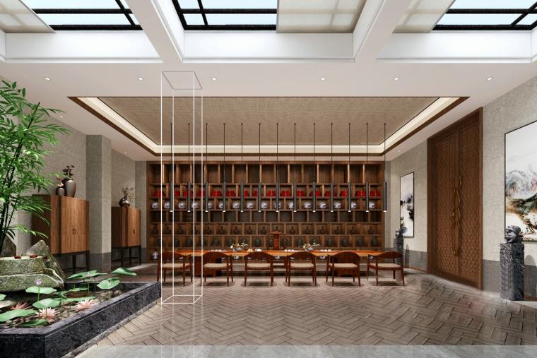 中式酒店大堂3D模型[带天窗]