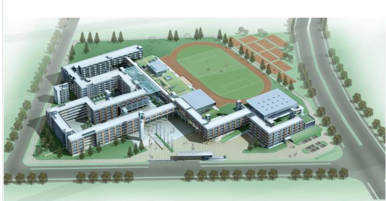 [浙江]杭州某市场中学建筑设计方案文本(效果图+SU+CAD)-鸟瞰图1