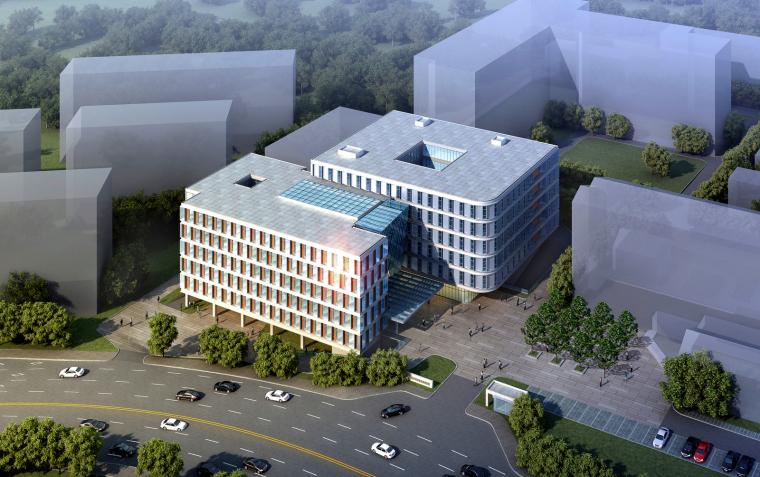 [北京]现代门诊楼设计中国医学科学院(cad+效果图)