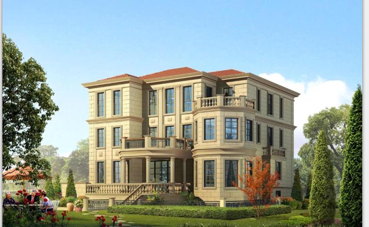 框架-剪力墙结构3层独栋别墅建筑设计(包含CAD)