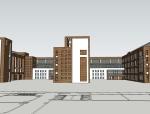 现代风格红砖教学楼建筑SU模型