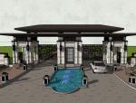 新中式风格居住区景观大门SU模型设计