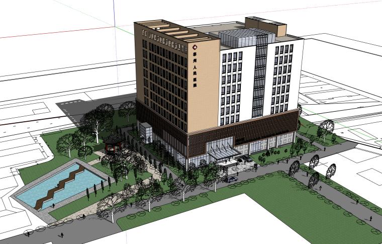 泰州大型综合医院建筑SU模型
