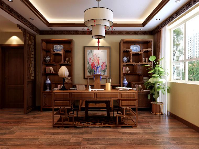 现代中式书房3D模型下载