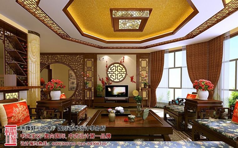 古典中式别墅装修效果图,奢华富丽优雅大气_2