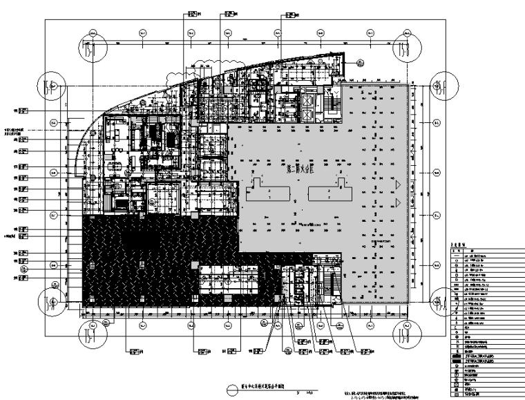 知名地产前海售楼处设计施工图(附效果图+物料清单+软装方案)-天花综合平面图