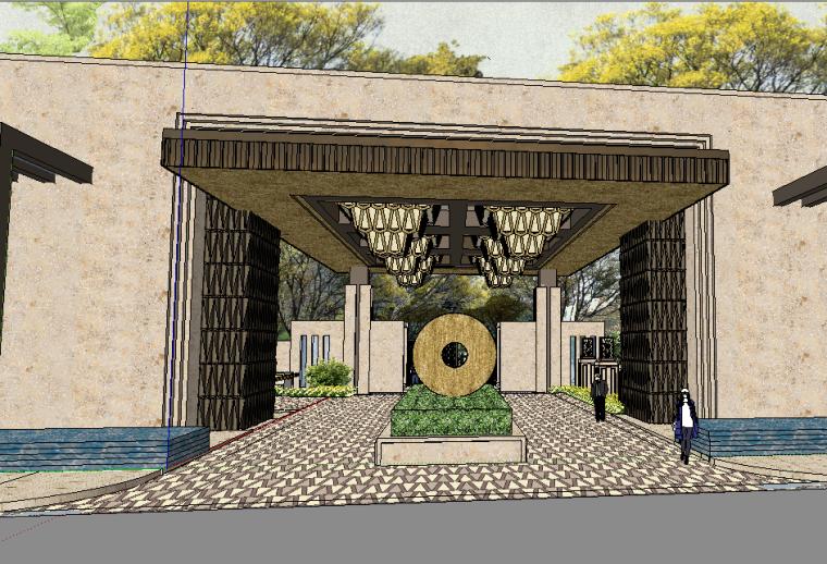 中糧大悅城新中式風格居住區大門模型設計