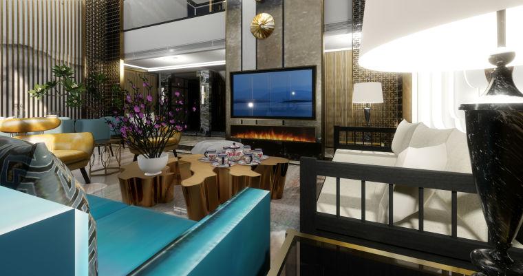豪华loft室内设计客餐厅模型设计(2018年)-X 8
