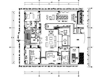 全套的高档酒店接待套房设计施工图(含效果图+软装方案)