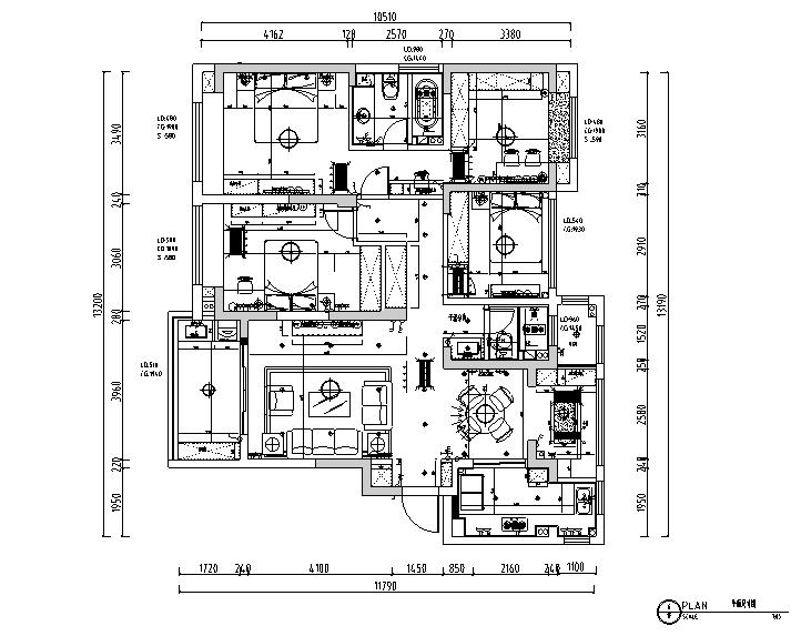 绿地华尔道名邸美式三居室样板房设计施工图(附效果图)