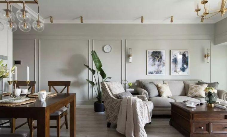 别看房子小,87㎡小美式效果惊艳,奶咖色墙面太温馨了!