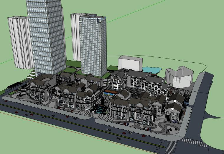 中式现代商业步行街建筑SU模型