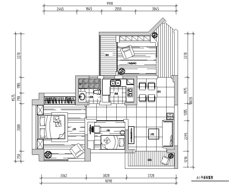 87平米润和园二居室样板间设计施工图(附效果图)