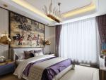 紫色优雅住宅卧室设计3D模型(附效果图)