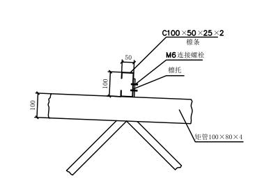 彩钢棚架-凉棚全套CAD设计图-檩条与屋架连接构造