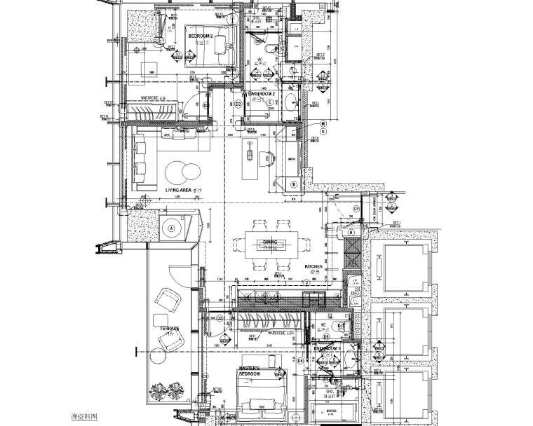 [深圳]华润大涌西塔T3公寓入户大堂+3套样板间施工图+物料表_10