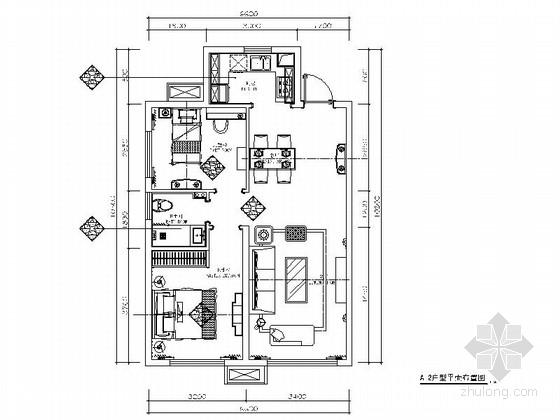 精巧两居室美式风格样板房装修施工图