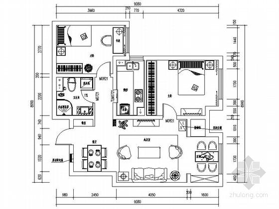 现代中式淡雅二居室住宅室内设计CAD施工图含效果