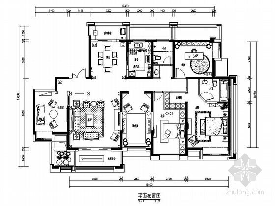 [郑州]精品古典美式五居室装修CAD施工图(含效果)