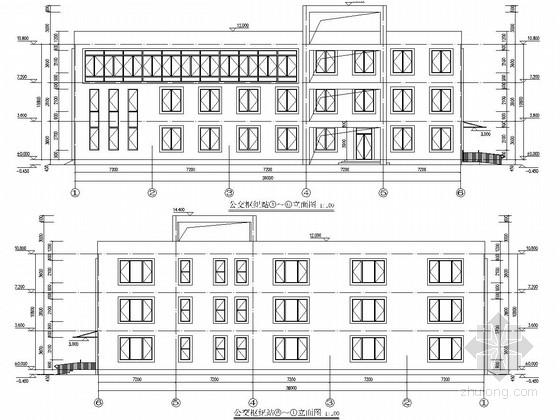 [武汉]三层框架结构公交枢纽站结构施工图(含建筑图 节能计算书及备案表)