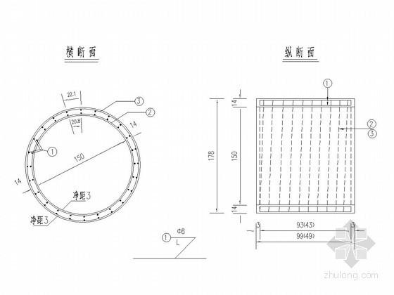 圆管涵孔径1.5m直管节钢筋构造图(长0.5m 1.0m)
