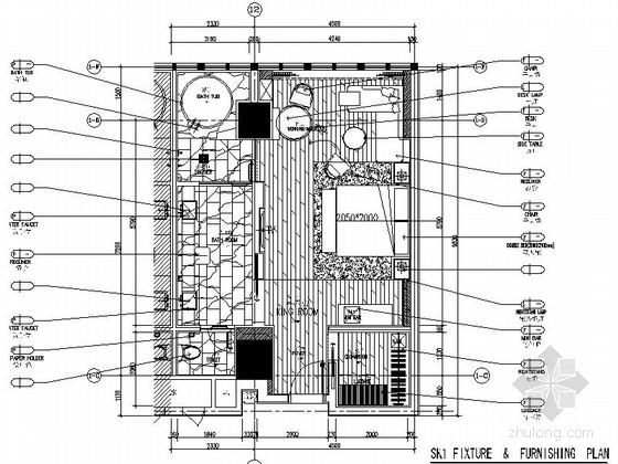[湖南]国际化五星级酒店样板房装修设计施工图(含效果)