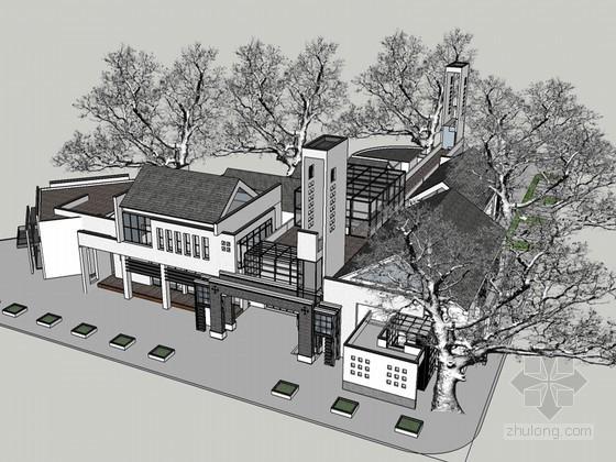 旅游服务中心SketchUp模型下载
