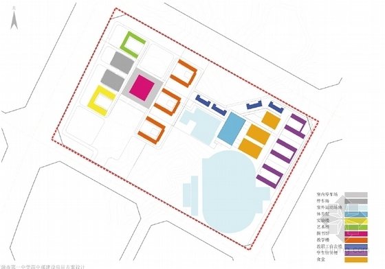中式风格中学校园设计方案分析图