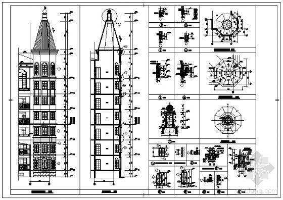 某七层塔楼大样、地下自行车库坡道、残坡、凸窗详图施工图