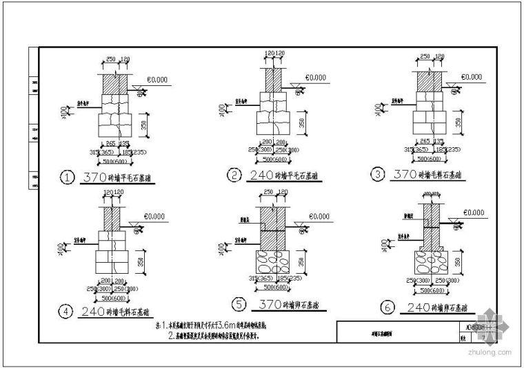 [川]08G08某砖墙石基础断面节点构造详图_1