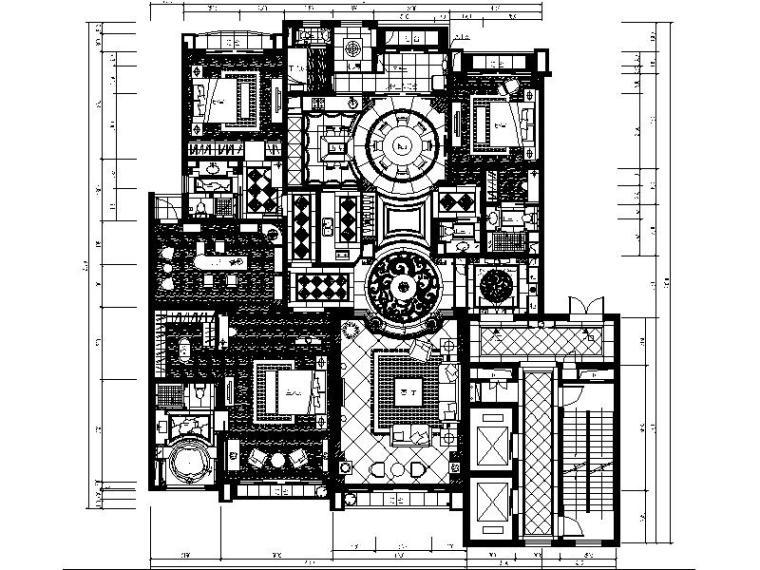 [北京]欧式精品别墅精装修室内设计施工图(含效果图)