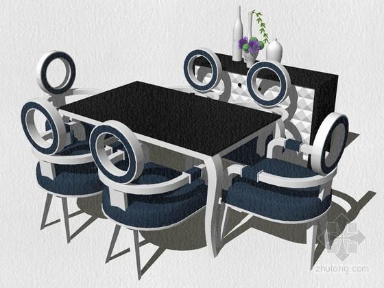 欧式餐桌椅SketchUp模型下载