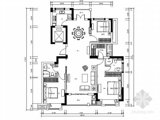 [浙江]简欧新古典风格三居室室内装修CAD施工图(含效果图)