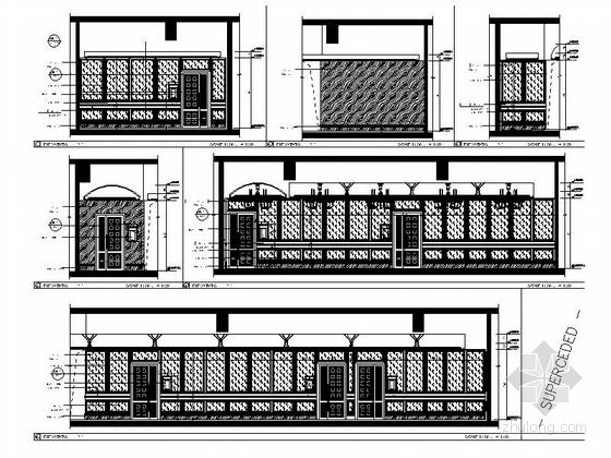 [浙江]高档商务欧式风格娱乐会所室内装修施工图(含效果)过道立面图