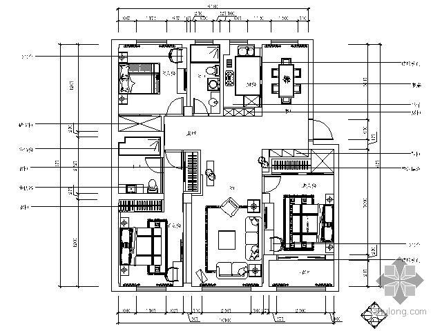 老年人公寓楼资料下载-[杭州]某公寓楼三室两厅装修图
