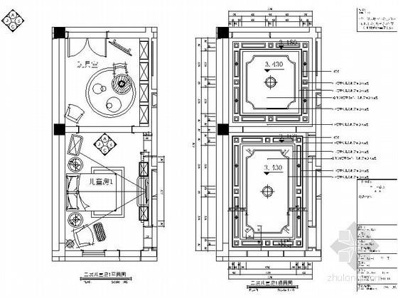 豪华别墅儿童房设计立面图
