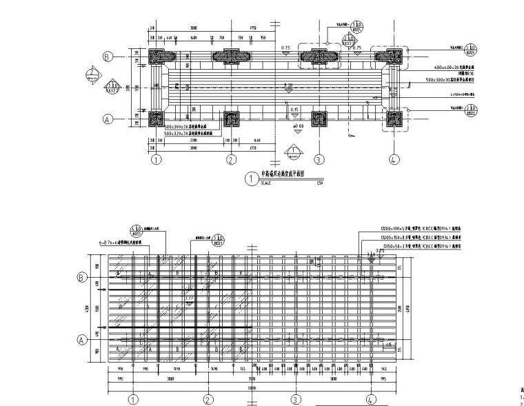 中高端双边廊架施工图设计-文科设计院