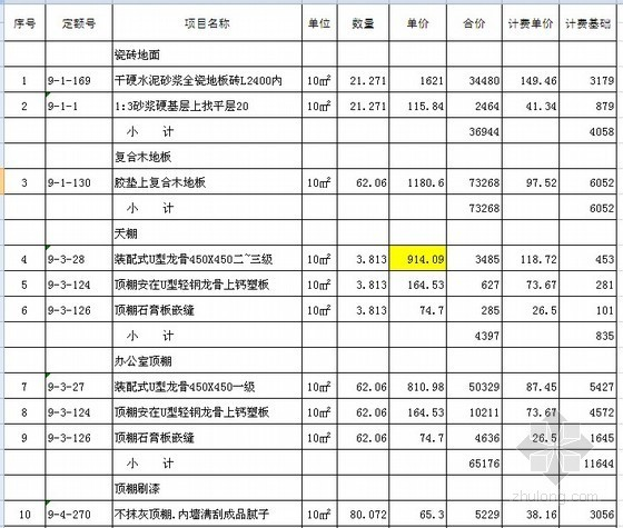 [济南]2011年办公室装修改造预算书(附图纸)