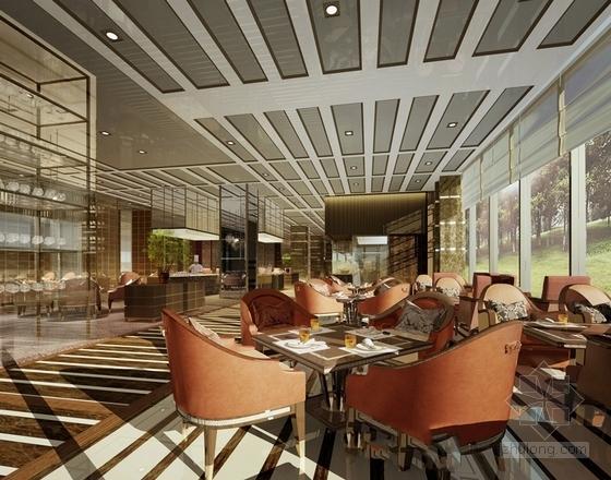 [福建]豪华五星级现代酒店室内设计成果汇报方案全日餐厅效果图