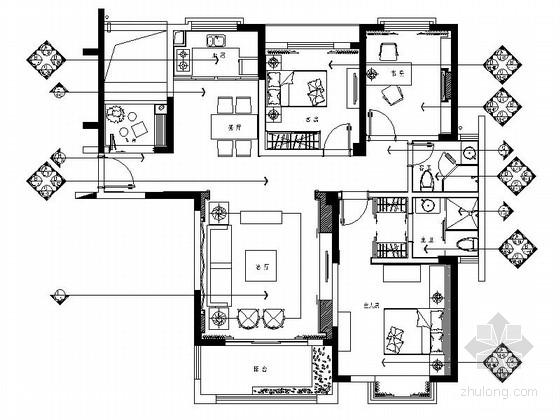 [南通]主题公园中式风格三居室装修图